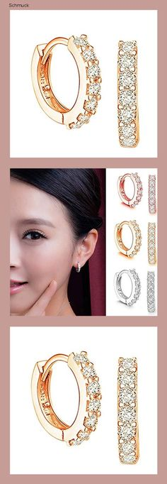 Obestseller Rose Jewellery -Creolen Silber Damen Ohrringe, 925 Sterling Silber Creolen mit AAA Zirkonia, Durchmesser 13mm Klein Schlafen Kreolen - 14hd