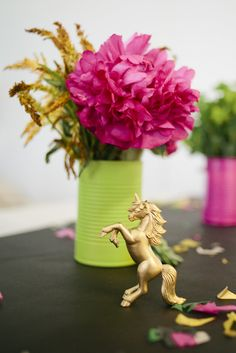 Pink & Gold Unicorn Themed Baby Shower: Peony & flowers by Wildflowers by Design