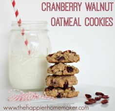 cranberry walnut oatmeal cookie recipe  Christmas Cookie Exchange -(The Happier Home Maker)