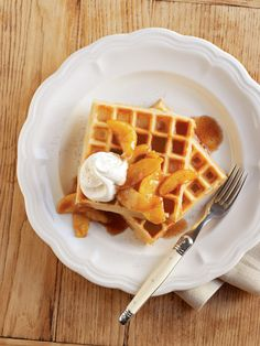 Valentine's Day Breakfast - Cinnamon Waffles with Caramelized Apples