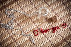 I love you long necklace with glass bottle with by SilviaWithLove, €15.00