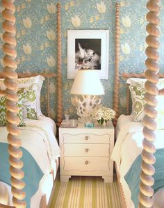 "tuckerandmarks -Detail of the room we did for Elle Decor. Suzanne started with the beds which belonged to Nan Kempner's mother.Walls are covered is Suzanne's ""Hatley"" Pattern. We used Dash and Albert runners sewn together for the carpet. The photo is by Horst. The lamp was on loan from me and was a vintage Italian piece."