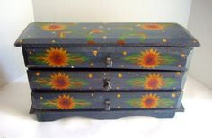 Vintage Jewelry Box Wooden Painted Folk Art Sunflowers