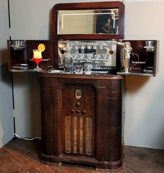 "Bar-topped radio, from ""Cocktail Culture: The Glamorous Gold Coast Years From Prohibition to 1960,"" at the Coe Hall mansion at Planting Fields Arboretum State Historic Park."