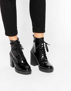 Image 1 ofRiver Island Patent Lace Up Clunky Boot