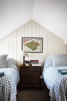 The spare bedroom of Ben Pentreath's home in Dorset is housed in the attic. The apex is clad in tongue and groove panelling and the walls have been painted a creamy white - a shrewd choice for a small country bedroom. The twin beds are covered in a blue and white Indian block printed cotton.