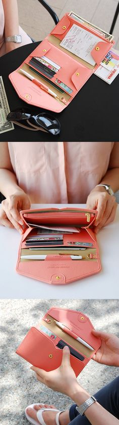 With its simple design and variety of colors, this clutch is perfect for any outing. It has 5 card slots, a key holder, pen holder, slim pocket, zippered pocket, passport pocket and main button compartment, so you can keep all your daily essentials with you wherever you go!