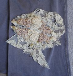 ANTIQUE RIBBONWORK from VINTAGE LACE DRESS CREAM RIBBON ROSES BUDS DOLL WEDDING