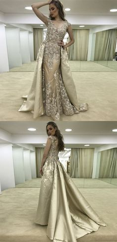 A-Line V-Neck Sweep Train Gold Stretch Satin Prom Dress with Appliques Beading, unique gold v neck long prom dresses with beading, elegant evening dresses with appliques