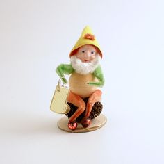 Vintage Christmas Ornament Pine Cone Elf Gnome Stocking Mid Century by efinegifts on Etsy