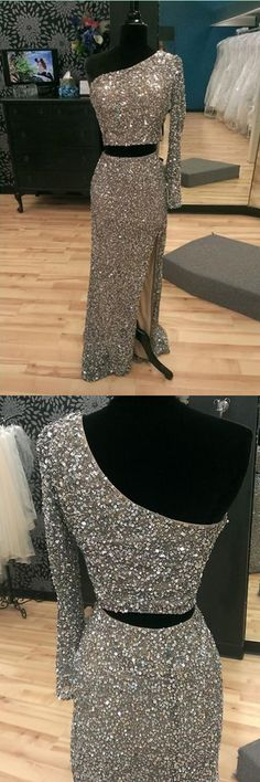 Sparkling One Shoulder Two-piece Split Mermaid Silver Prom Party Dress
