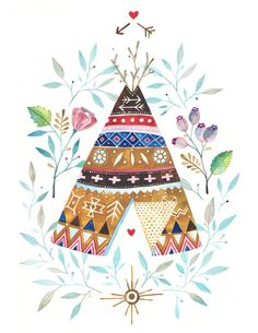 Pretty teepee illustration
