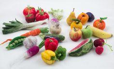 FIN DE MARCHE - Panier d'un choix de 5 fruits et/ou légumes - Laine feutrée