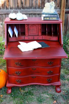 Perfectly Shabby Barn Red Drop-front Secretary Desk With Serpentine Drawers