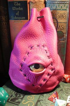 Dragon eye dice bag Pink leather with Gold by AbbotsHollowStudios