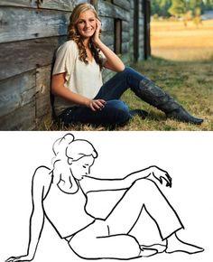 mujer posa sentada con piernas flexionadas