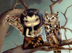 Owlyn great horned owl feather fairy art print by by strangeling, $29.99