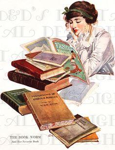 BOOKWORM.  Cute  Flapper Is READING.  Vintage Art Deco Illustration.  Vintage Deco Reading DIGITAL Download. Vintage Digital Print