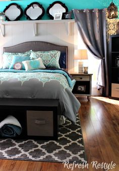 Aqua and Grey Bedroom BHG Style Showcase - Refresh Restyle Home Decor Inspiration, Bedroom Makeover, Bedroom Decor, Beautiful Bedrooms, Home, Bedroom Inspirations, Home Bedroom, Remodel Bedroom, Home Decor