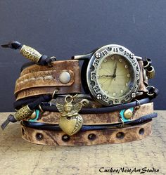 Wrap around Watch, Wrap Watch, Womens leather watch, Vintage looking Bracelet Watch, Rustic Wrist Watch