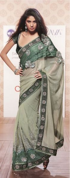 Olive Green Net Saree with Blouse