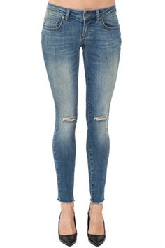 Ripped Jeans in Washed Blue – ANINE BING