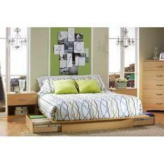 Full / Queen size Maple Platform Bed Frame with Storage Drawers - Hearts Attic   - 1