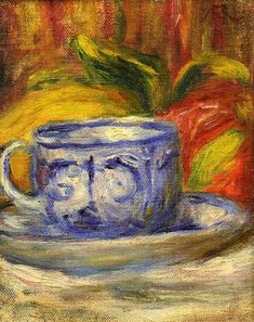 Cup and Fruit. Private Collection - Pierre-Auguste Renoir