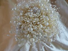 Ivory Bubble Pearls and Brooch Bouquet