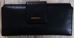 NWT NEW FOSSIL MADISON SLIM CLUTCH WALLET BLACK LEATHER $65.00