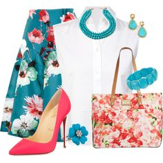 May Floral Outfit for Spring by cricketdiane on Polyvore featuring polyvore, ファッション, style, T By Alexander Wang, Delpozo, Christian Louboutin, Calvin Klein, Amrita Singh, Stephanie Kantis and modern