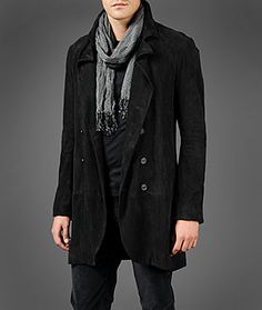 John Varvatos Double Breasted Leather Jacket