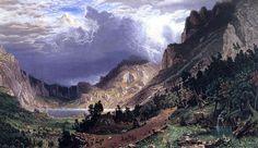 'Sturm in den Rocky Mountains, Mt. Rosalie', öl auf leinwand von Albert Bierstadt (1830-1902, Germany)
