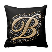 Elegant diamonds monogram B pillow