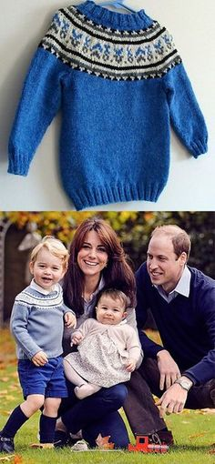 Free knitting pattern for Prince George's Fair Isle sweater from Christmas 2015 - Amie Richan designed this pullover inspired by the sweater worn by Prince George in the British royal family Christmas photo of 2015. The yoke pattern is an exact replica of that in the original sweater.