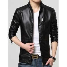 #Valentines #AdoreWe #Twinkledeals - #TwinkleDeals Zip Up Casual Faux Leather Jacket - AdoreWe.com