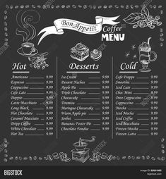 Illustration of Set of coffee menu with a cups of coffee drinks in vintage style stylized drawing with chalk on blackboard. Lettering Know your coffee. excellent vector illustration, EPS 10 vector art, clipart and stock vectors. Coffee Shop Menu, Coffee Shop Design, Design Café, Sign Design, Speisenkarten Designs, Coffee Chalkboard, Menu Chalkboard, Chalkboard Vector, Chalkboard Drawings