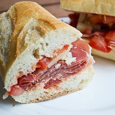 Spain in a Sandwich - Serrano Ham, Manchego Cheese and Tomato Salsa. Only a few ingredients needed to yield big flavour.