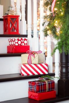 Christmas gifts on stairs