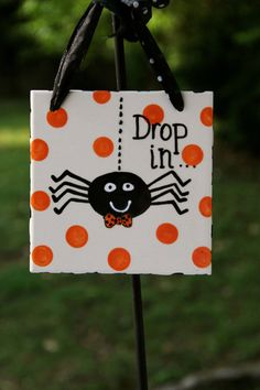 Halloween  hanging tile by forpetessakepottery on Etsy, $18.00