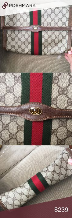 """GUCCI GG envelope clutch Guaranteed authentic preowned vintage Gucci envelope classic clutch.  Great chance to own a timeless piece at a steal!  In good vintage condition, no rips or stickiness.  Measures 11 x 7 x 3"""".  Offers thru offer option only please - bundle to save $$$ Gucci Bags Clutches & Wristlets"""