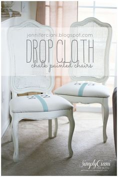 My inspiration came from THESE CHAIRS by City Farmhouse  I found them to be so beautiful, clean and classic.  All that was needed was 3 coats of Annie Sloan - Old White,  some leftover craft paint & a small drop cloth