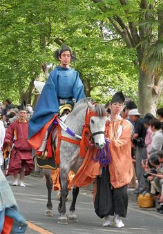 Aoi-Matsuri (Aoi-festival) in Kyoto Japan.  Heian era costume.   The Aoi Festival came to be held now for approximately 1,400 years. Horse.