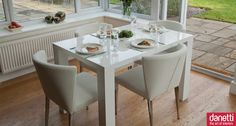 A versatile and stylish white gloss dining set, perfect for entertaining between 4 to 10 people comfortably, 12 at a push! Accompanying the Fern modern white high gloss extending dining table are the unique and stylish Curva dining chairs. The elegant curved backrests offer comfort and style and the beautiful elegant tapered chrome legs provide the finishing touch. The well-padded seat is covered in soft faux leather, available in either classic Black or modern White. £749.00
