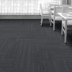 Interface carpet tile: SH901 Color: Cyprus 104121 Installation method: Herringbone         Room scene: Dining
