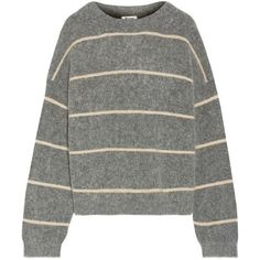 Acne Studios Rhira striped knitted sweater ($360) ❤ liked on Polyvore featuring tops, sweaters, acne, layered sweater, oversized sweater, grey sweater, striped top and gray sweater