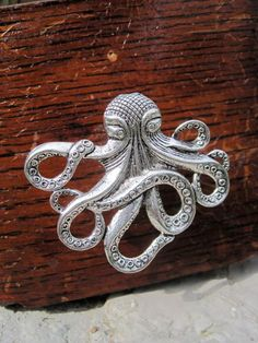 Octopus Drawer Knobs - Cabinet Knobs In Silver Metal (mk103)