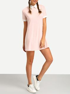 Robe+chemise+col+claudine+manche+courte+-rose+12.04