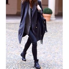 Love this black/grey layered look - black ankle length trousers & ankle boots
