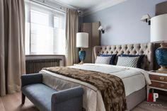 Фото интерьера спальни квартиры | Дизайн интерьера квартиры цвета кобальта и бирюзы в стиле фьюжн | Apartment interior design cobalt blue and turquoise fusion